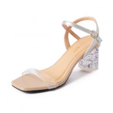 Giày sandal cao gót Erosska thời trang mũi vuông quai mảnh phối mica trong hở gót cao 7cm EB015 (màu nude)