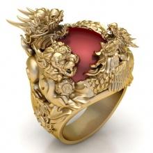 Nhẫn nam đá thạch anh tự nhiên mạ vàng 18k RM01075