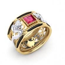 Nhẫn nam đá thạch anh mạ vàng 18k RM01076