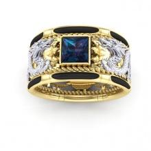 Nhẫn nam đá thạch anh mạ vàng 18k RM01077