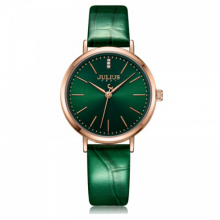 Đồng hồ nữ JA-1095D Julius Hàn Quốc dây da xanh