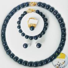 Bộ trang sức ngọc trai thiên nhiên 4m - Chuỗi đơn - Trang sức Cô Tấm - BLACK PEARL SILVER - Màu đen+Tặng Pkiện