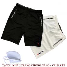 Combo 2 quần short thể thao nam phối dây kéo dokafashion màu đen trắng BLACK SOT03  (tặng 1 khẩu trang)