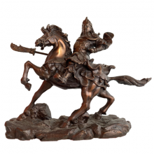 Tượng Quan Công Cưỡi Ngựa bằng đồng hun giả cổ