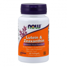Thực phẩm bổ sung hỗ trợ sức khỏe thị giác NOW lutein 25mg - Zeaxanthin 5mg 60 Viên nang mềm