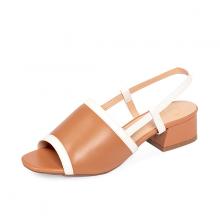 Giày nữ, giày cao gót block heel đế vuông Erosska cao 3cm phối dây thời trang - EM011 (BR)