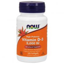 Thực phẩm bổ sung hỗ trợ hấp thu canxi tốt hơn, tăng cường miễn dịch NOW vitamin D-3 5000IU chai 120 viên nang mềm