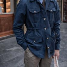 Áo safari jacket da lộn màu xanh