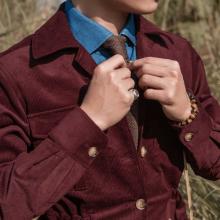 Áo safari jacket nhung tăm đỏ đun
