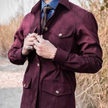 Áo safari jacket cotton màu đỏ đun