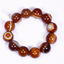 Vòng tay đá mã não mắt rồng nâu size hạt 20mm mệnh thổ, kim - Ngọc Quý Gemstones