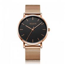 Đồng hồ nam Julius ja-1164md dây thép vàng đồng mặt đen