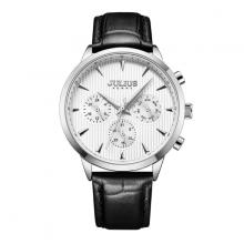 Đồng hồ nam 6 kim Julius jah-107a dây da đen