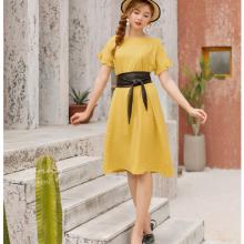 Đầm suông thắt đai da kimi - AD90175