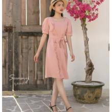Đầm tay bông thắt nơ eo kimi - AD190180