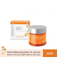 Kem dưỡng ban ngày giúp làm sáng và tái tạo da Andalou Naturals Brightening Probiotic + C Renewal Cream 50g