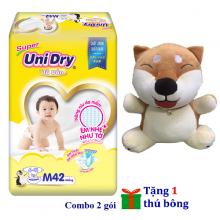 (Tặng 1 thú bông con chó ngồi) combo 2 gói tã dán Unidry size L38 - size XL34