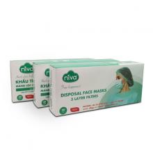 Combo 3 hộp 20 chiếc khẩu trang 2D Niva 3 lớp kháng khuẩn, chống bụi- Giao màu ngẫu nhiên