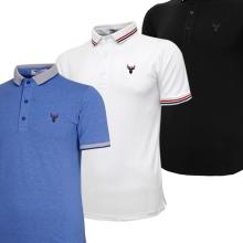 Bộ 3 áo thun nam polo pigofashion AHT16 màu xanh da, trắng, đen