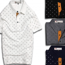 Combo 4 cái áo thun cổ bẻ họa tiết X PigoFashion GU02 đen, xanh đen, trắng , xám