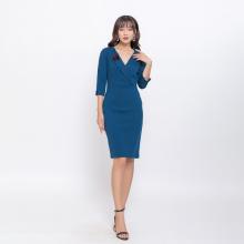 Váy đầm công sở thời trang Eden cổ vest phối phụ kiện- D401