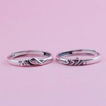 Nhẫn bạc cặp nam nữ Núi và Biển Free Size - Ngọc Quý Gemstones