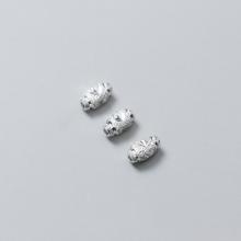 Charm bạc ô liu xỏ ngang (bạc trắng) 4x7mm - Ngọc Quý Gemstones