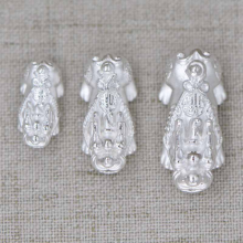 Charm tỳ hưu bạc trắng xỏ ngang 23x11x10mm - Ngọc Quý Gemstones