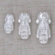 Charm tỳ hưu bạc trắng xỏ ngang 28x13x12mm - Ngọc Quý Gemstones