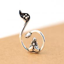 Charm bạc mặt dây chuyền hình phật ngồi cuốn sen treo - Ngọc Quý Gemstones