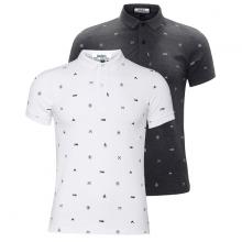 Bộ 2 áo thun nam cổ bẻ hoạ tiết cao cấp BAT014( trắng , xám  )