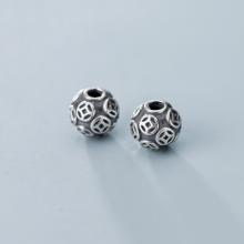 Charm bạc đồng tiền tròn xỏ ngang (bạc thái) 14mm lỗ 3.6mm - Ngọc Quý Gemstones