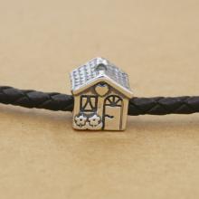 Charm bạc ngôi nhà FULL HOUSE xỏ ngang (lỗ lớn) - Ngọc Quý Gemstones
