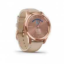 Đồng hồ thông minh Garmin Vivomove Luxe, Light Sand Leather w-18K Rose Gold