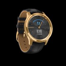 Đồng hồ thông minh Garmin Vivomove Luxe, Black Embossed Leather w-24K Gold