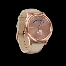Đồng hồ thông minh Garmin Vivomove Luxe, White Leather w-24K True Gold