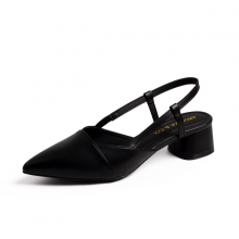 Giày nữ, giày cao gót thời trang Erosska mũi nhọn cổ vuông vá si kiểu dáng đơn giản cao 5cm EL014 (màu đen)