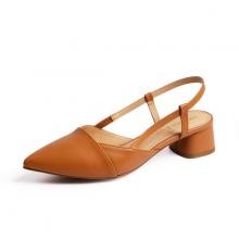 Giày nữ, giày cao gót thời trang Erosska mũi nhọn cổ vuông vá si kiểu dáng đơn giản cao 5cm EL014 (màu vàng bò)