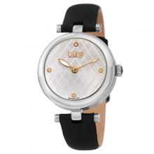 Đồng hồ thời trang nữ Burgi BUR196SSB màu bạc mặt số đan chéo độc đáo dây da 32mm
