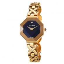 Đồng hồ thời trang nữ Akribos AK1086YGB mặt xanh góc cạnh dây kim loại vàng sang chảnh 28mm