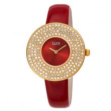 Đồng hồ thời trang nữ Burgi BUR272RD mặt tròn đính đá swarovski dây da đỏ 36mm