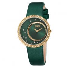 Đồng hồ thời trang nữ Burgi BUR271YGN màu xanh lá mặt số sunray độc đáo dây da 33mm