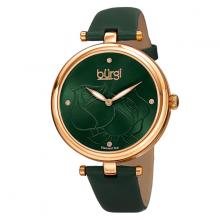 Đồng hồ thời trang nữ Burgi BUR151GN mặt khắc hoa hồng dây da 38mm