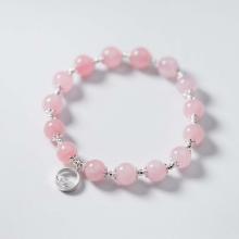 Vòng tay đá thạch anh hồng charm bạc tròn treo mệnh hỏa, thổ - Ngọc Quý Gemstones