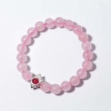 Vòng tay đá thạch anh hồng charm bạc ngôi sao 6 cánh mệnh hỏa, thổ - Ngọc Quý Gemstones