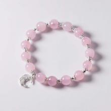 Vòng tay đá thạch anh hồng charm mặt trăng mệnh hỏa, thổ - Ngọc Quý Gemstones