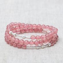 Vòng tay 3 line đá thạch anh hồng charm bạc mệnh hỏa, thổ - Ngọc Quý Gemstones