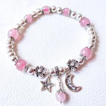 Vòng tay đá thạch anh hồng phối charm trăng sao mệnh hỏa, thổ - Ngọc Quý Gemstones