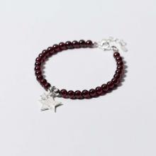Vòng tay đá Garnet phối charm ngôi sao đôi size hạt 6mm mệnh hỏa, thổ - Ngọc Quý Gemstones