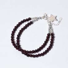 Vòng 2 line đá Garnet phối charm sao mệnh hỏa, thổ - Ngọc Quý Gemstones